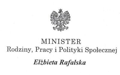 List od Pani Minister Rodziny, Pracy i Polityki Społecznej Elżbiety Rafalskiej
